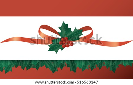 Holly Christmas decoration with leaves, berries and ribbon. Banner template.