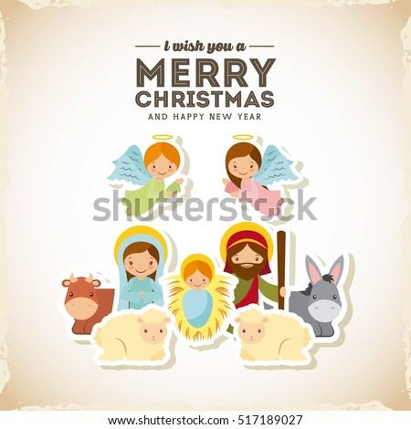 holy family manger scene. merry christmas and happy new year card colorful design. vector illustration