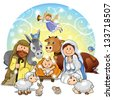 Holy Family with animals and background decorations-transparency and blending effects gradient mesh-EPS 10 - stock vector