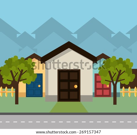 Home Design Over White Background, Vector Illustration.