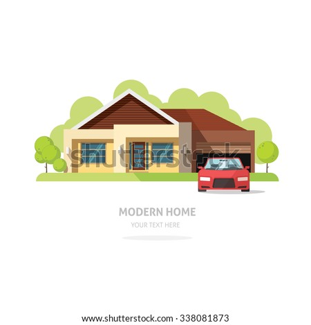 Home Facade Contemporary Modern Flat Style House Traditional Cottage Vector Illustration Bright Family