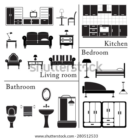 Home furniture icons set isolated on stock vector for Kitchen design vector