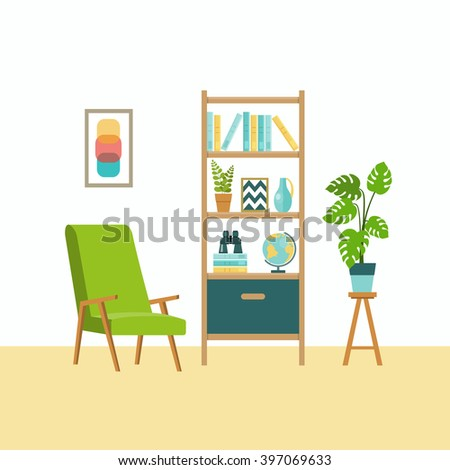 Vector Interior Home Furniture Design Illustration Stock Vector 473697172 Shutterstock