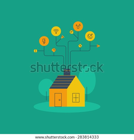 Home improvement. Water and electricity supplies, internet connection. Smart home systems, housekeeping concept, household services vector linear illustration