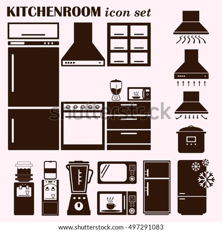 Home Interior Design Icon, Kitchen Icon, Dining Icon Set, Vector  Illustration. Flat