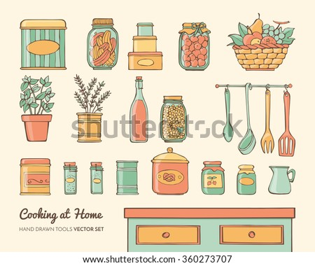 Cute hand drawn glass jars candies stock vector 428739958 for Art cuisine evolution 10 piece cooking set