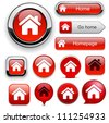 Home red design elements for website or app. Vector eps10. - stock photo