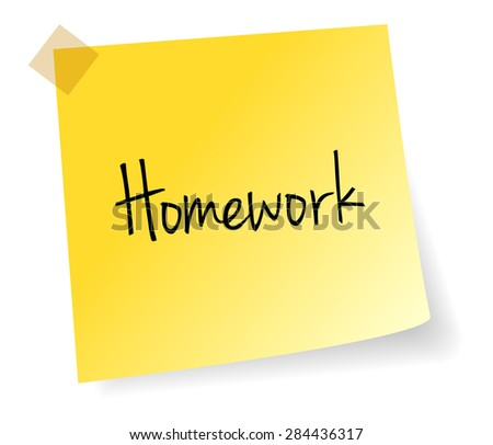 Homework Yellow Stick Note Paper Vector Isolated