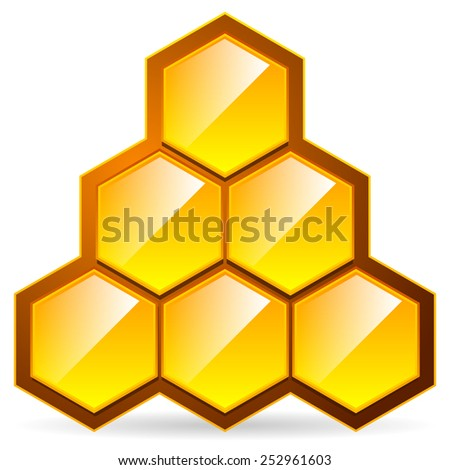 Honeycomb, honey cell illustration / icon isolated. Organic sweetener, natural food, nutrition, healthy ingredients, beekeeping, natural structure concepts.