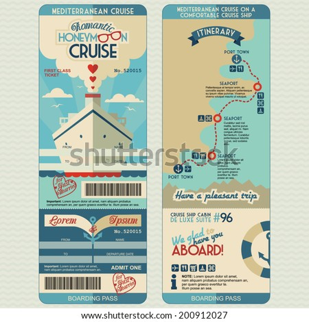 Cruise Ship Boarding Pass Flat Graphic Stock Vector 200815217