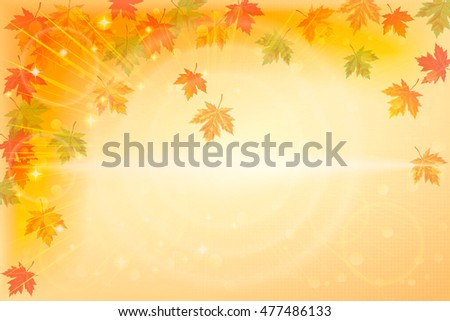 Horizontal autumn background with fallen leaves. Vector illustration.