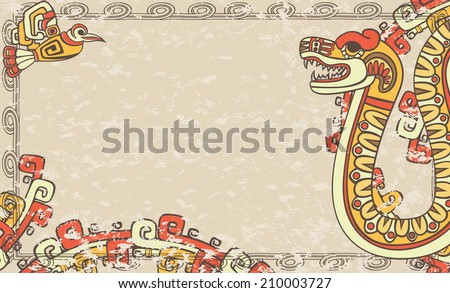 Horizontal background in the Aztec style, snake and bird, second variant