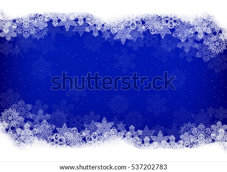 Horizontal Christmas background with openwork snowflakes and place for text dark blue color. Vector illustration.