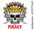 Horrible skull wearing golden crown icon for jolly roger or piracy symbol and king of pirates design with crowned old human skull with crossed sabres on the background, framed by heraldic wreath - stock vector