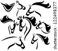 horse head outlines - vector set of fine black and white outlines - stock vector