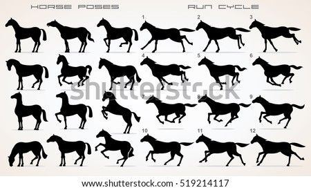 Horse Icon Set. Vector Clip Art