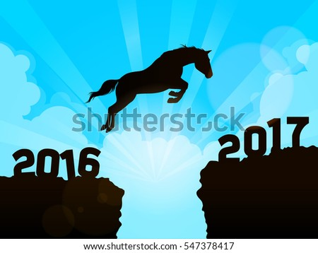 Horse jumping from 2016 to New Year 2017