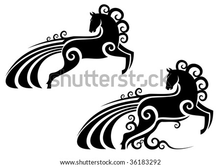 Horse stallion silhouette as a symbol or emblem isolated on white, for equestrian sports