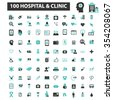 hospital, clinic, medicine  icons, signs vector concept set for infographics, mobile, website, application  - stock vector