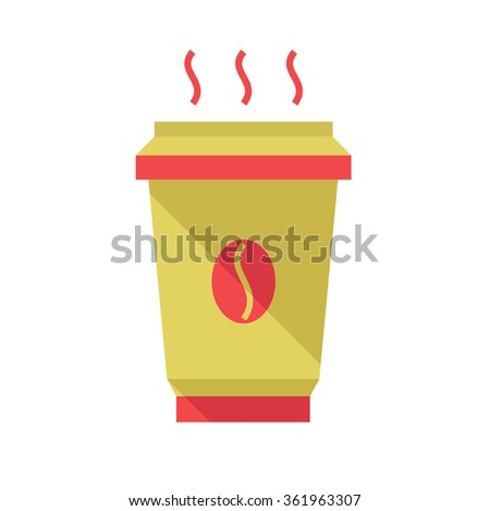 Hot coffee cup, flat style, vector illustration. Coffee to go.