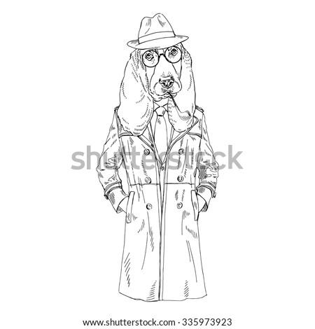 Hound Dog Dressed Up In Coat And Fedora Hat Fashion Animal Illustration