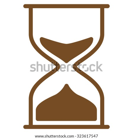 Hourglass vector icon. Style is flat symbol, brown color, rounded angles, white background.