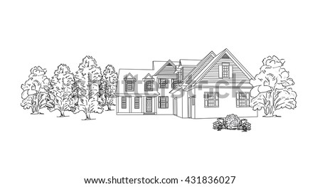 house among the trees. vector illustration