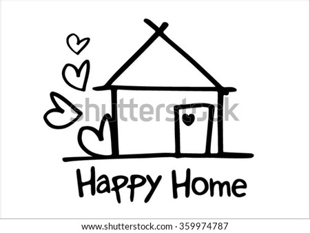 happy home clipart. house and word happy home clipart