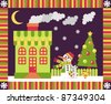 House and yard decorated for the holiday Christmas. New Year's postcard - stock vector