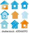 House drawings icon set - stock vector