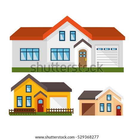 house exterior set icons