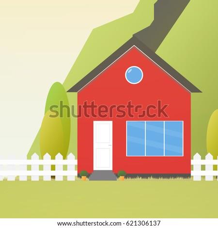Cartoon Barn On Large Hill Stock Vector 119488657