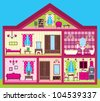 House for the girl in a cut. vector - stock vector