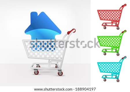 house icon in shopping cart colorful collection concept vector illustration