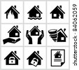 House insurance icons Set. All white areas are cut away from icons and black areas merged. - stock photo