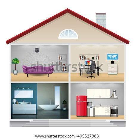 Glass dome house protection concept stock vector 677200939 for Living office concept