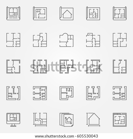 House Plan Thin Line Icon Vector Stock Vector 634772864 - Shutterstock