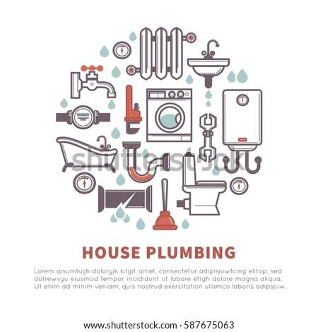 Flat line vector design concept plumbing stock vector for Household plumbing design