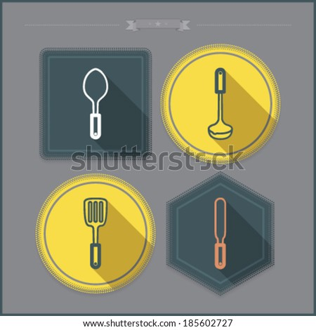 House related Objects from left to right - Spoon, Spatula, Ladle, Dipper, Scoop.