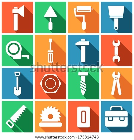 House remodel: set of flat colored simple web icons (tools, construction, building, production, manufacture), vector illustration