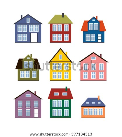Real estate vector stock vector 156042626 shutterstock for Pictures of different types of houses and their names