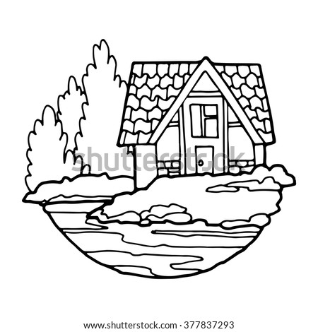 House With A Tiled Roof On The Lake Contour Drawing White Background