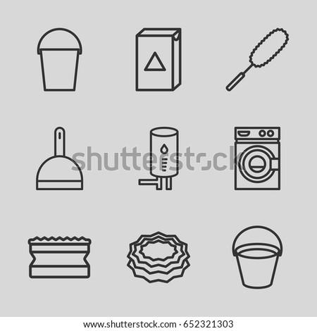 household icons set set 16 household stock vector 626954474 shutterstock. Black Bedroom Furniture Sets. Home Design Ideas