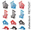 houses, building and homes, vector collection of property symbols - stock vector