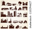 Houses buildings silhouettes, vector set of twenty four various buildings - stock vector