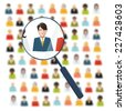 HR with magnifier looking for worker in crowd - stock photo