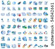 Huge collection of network icons, light blue color - stock vector