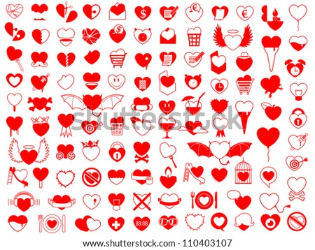 Huge vector collection of different red heart icons design elements with copy space