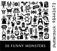 Huge vector set of funny cartoon monsters. - stock photo