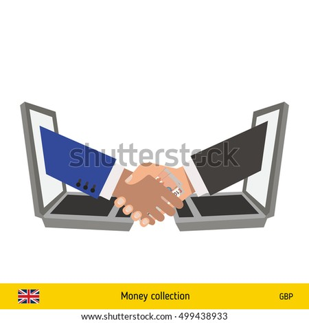Human hand gives money to another person vector illustration. British pound banknote.